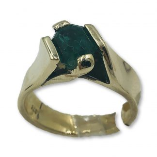 9ct Yellow Gold Natural Emerald Ring with Valuation