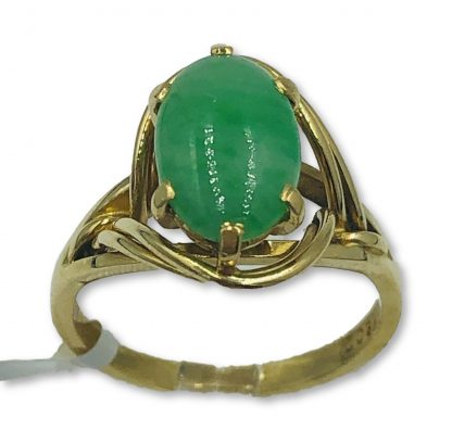 18ct Yellow Gold Jade Designer Ring