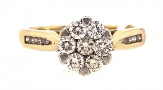 9ct Yellow Gold Diamond Cluster Ring with Valuation