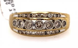 18ct Yellow Gold Diamond 3 Row Ring with Valuation