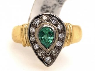 18ct Yellow Gold Emerald & Diamond Ring with Valuation