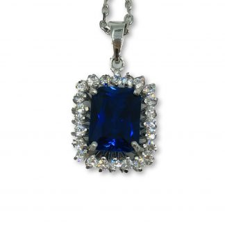 18ct White Gold Blue Sapphire Necklace