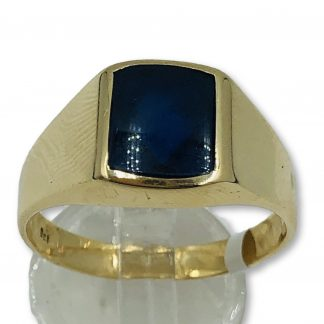 9ct Yellow Gold Blue Sapphire Men's Ring