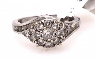 14ct White Gold Ladies 25 Diamond Cluster Ring with Valuation