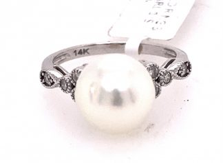 14ct White Gold South Sea Pearl and Diamond Ring with Valuation