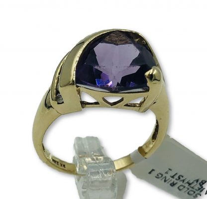 9ct Yellow Gold Amethyst & Diamond Ring with Valuation