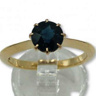 18ct Yellow Gold Blue Sapphire Solitaire Ring