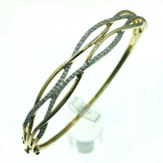 9ct Solid Yellow Gold Diamond Bangle