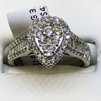 9ct White Gold 1.00cts Diamond Cluster Ring with Valuation Certificate