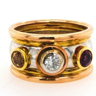 18ct White/Rose & Yellow Gold 3 Stone Ring with Valuation