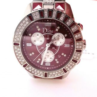 Dior 'Christal' Diamond Chronograph Watch CD11431F