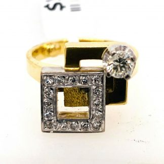 18ct Yellow Gold Diamond Designer Ring