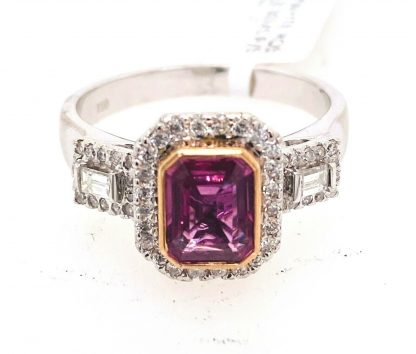 18ct White & Rose Gold Sapphire & Diamond Ring with Valuation