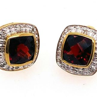 9ct Yellow Gold Garnet & Diamond Stud Earrings