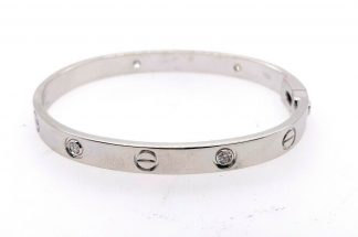 Cartier Style 18ct White Gold Diamond Love Bangle
