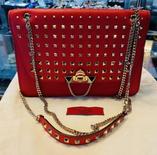 Valentino Demilune Rockstud Red Leather Shoulder Bag
