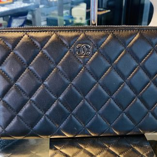 Chanel Quilted Zip Around Bifold Wallet