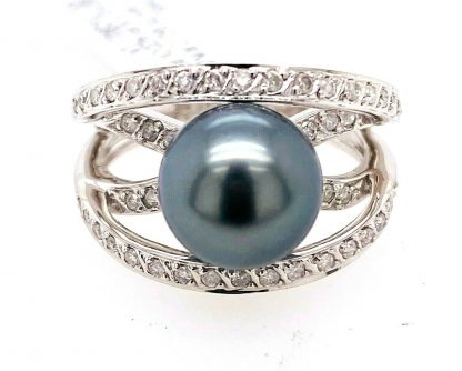 14ct White Gold Tahitian Pearl & Diamond Crossover Ring