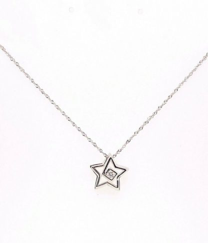 9ct White Gold Diamond Star Necklace
