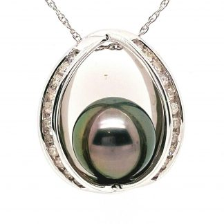 14ct White Gold Tahitian Pearl & Diamond Necklace