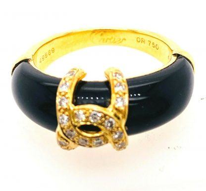 Cartier 18ct Yellow Gold Diamond & Onyx Ring