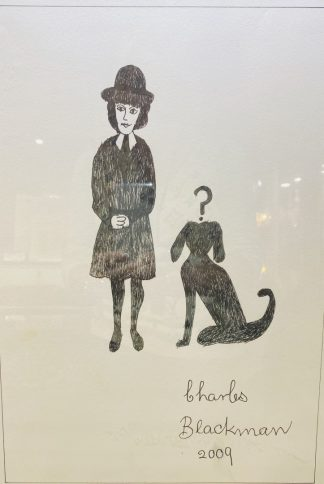 Charles Blackman 'Schoolgirl with Dog' Ink on Paper