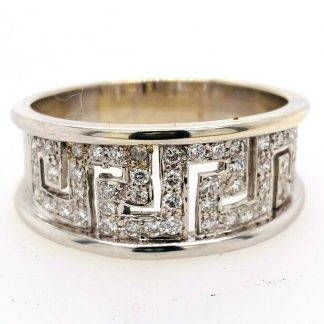 9ct White Gold Greek Key Diamond Ring