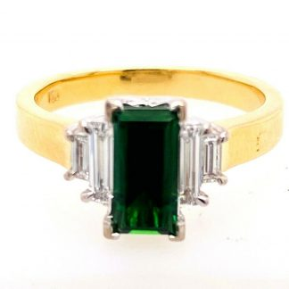 18ct Yellow Gold Diamond & Tourmaline Ring with Valuation