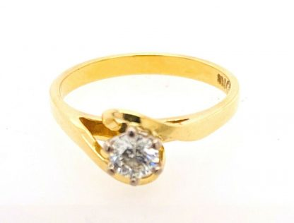 18ct Solid Yellow Gold Diamond Solitaire Ring with Valuation