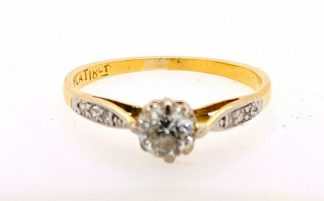 18ct Solid Yellow Gold & Platinum Diamond Ring with Valuation