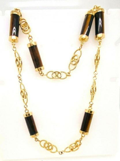 14ct Yellow Gold Tiger Eye Designer Necklace with Valuation