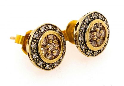 9ct Yellow Gold Diamond Halo Earrings