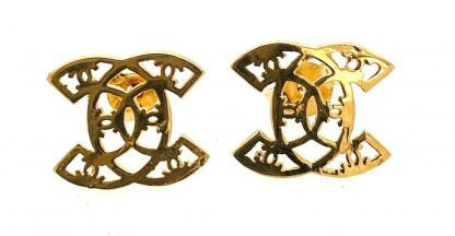 18ct Yellow Gold CC Designer Earrings