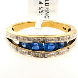 9ct Yellow Gold Blue Sapphire & Diamond Ring