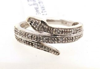 10ct White Gold Diamond Snake Ring