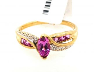 9ct Yellow Gold Pink Sapphire & Diamond Ring