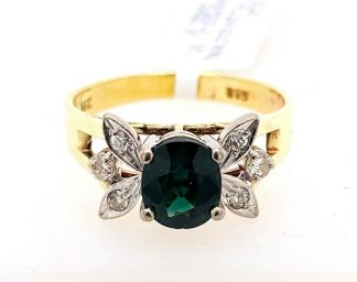 14ct Yellow Gold Green Sapphire & Diamond  Ring