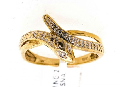 9ct Yellow Gold Diamond Snake Ring