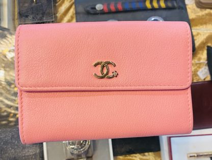 Chanel Camellia CC Pink Leather Flap Wallet