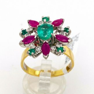 18ct Yellow Gold Emerald, Ruby & Diamond Ring with Valuation