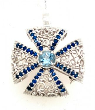 9ct White Gold 49 Stone Pendant/Brooch with Valuation