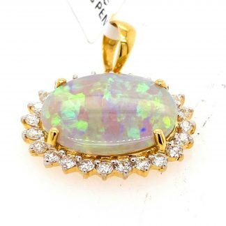 18ct Yellow Gold Opal & Diamond Pendant with Valuation