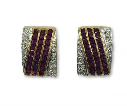 14ct Yellow Gold Diamond & Ruby Earrings with Valuation