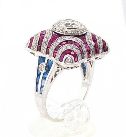 18ct White Gold Ruby, Sapphire & Diamond Ring with Valuation
