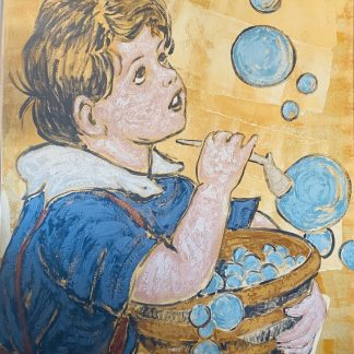 David Bromley 'Boy with Bubbles' Acrylic on Linen Painting152cm x 122cm