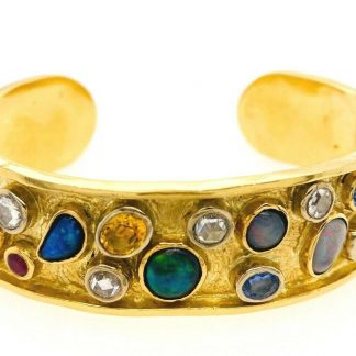 18ct Yellow Gold Designer Cuff Bracelet with Valuation