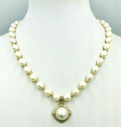 9ct Yellow Gold Cream Freshwater Pearl Necklace with Diamond & Mabe Pearl Enhancer Pendant