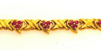 Natural Ruby Heart Design Tennis Bracelet