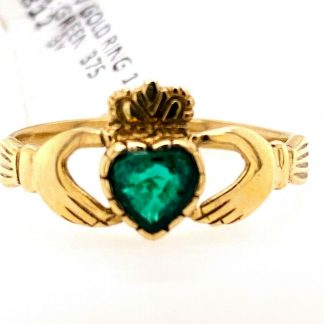 9ct Yellow Gold Emerald Claddagh Ring