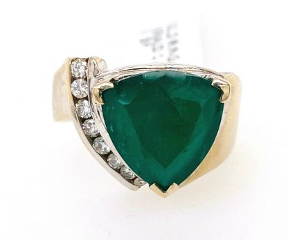 14ct White Gold Natural Emerald & Diamond Ring with Valuation